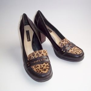 Bandolino Dark Brown Leather & Animal Print Heels